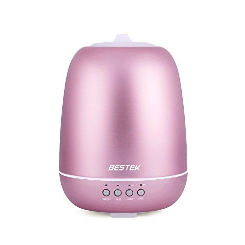BESTEK Aromatherapy Essential Oil Diffuser, Ultrasonic Cool Mist Humidifier with 360° Rotating Spraying, Colorful LED Lights, Timer, Adjustable Mist Mode, Pink, 350mL