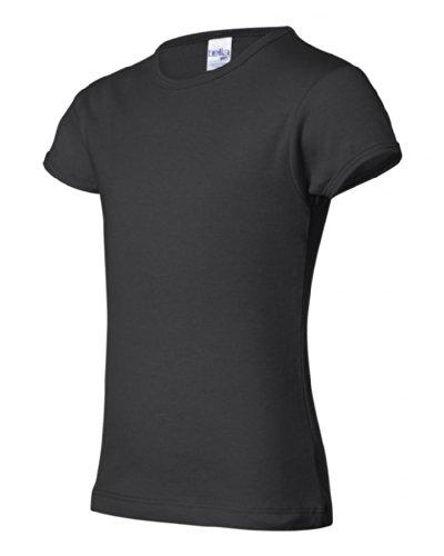 Bella + Canvas - Girls' Baby Rib Short Sleeve Crewneck T-Shirt - Black - 6/8