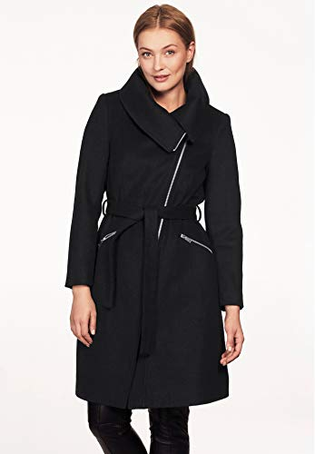 (Ellos Women's Plus Size Asymmetrical Zip Belted Wool Blend Coat - Black, 12)