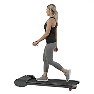 Sunny Health & Fitness Walkstation Slim Flat Treadmill for Under Desk and Home – SF-T7945,Black