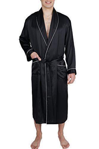 OSCAR ROSSA Men's Luxury Silk Sleepwear 100% Silk Long Robe Kimono Black