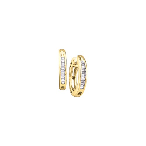 Gold Baguette Diamond Earrings - 10kt Yellow Gold Womens Baguette Diamond Huggie Hoop Earrings 1/6 Cttw (I2-I3 clarity; I-J color)