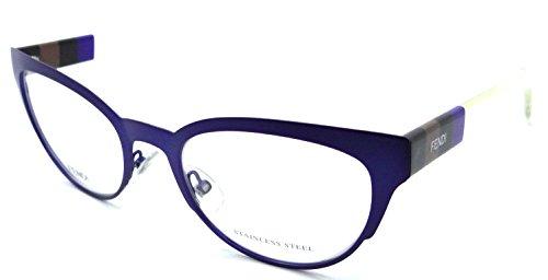 9170224d1c Fendi Rx Eyeglasses Frames FF 0081 E3E 52-20-140 Matte Blue Pequin Crystal