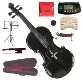 Merano 13'' Black Viola with Case and Bow+Extra Set of Strings, Extra Bridge, Shoulder Rest, Rosin, Metro Tuner, Black Music Stand, Mute by Merano
