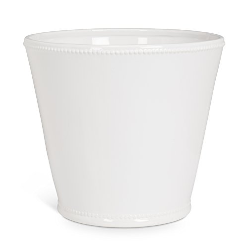 Abbott Collection Jenny Ceramic Planter w/ Beaded Trim, White (Extra Large)