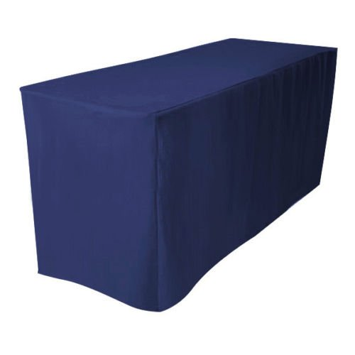 urby 8 39 ft fitted tablecloth polyester table cover wedding banquet event navy blue. Black Bedroom Furniture Sets. Home Design Ideas