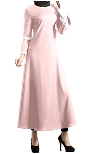 VividYouWomen A-line Lace Trim Muslim Abaya Big Swing Malaysia Dress AS1 Medium