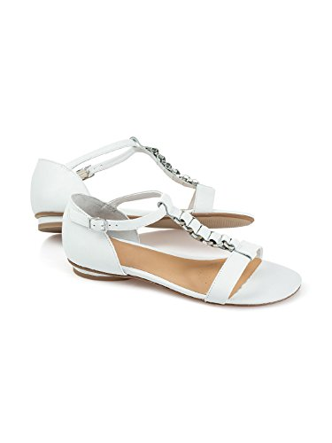 Walbusch Damen Sandalette Schmuckriemchen Einfarbig Weiß