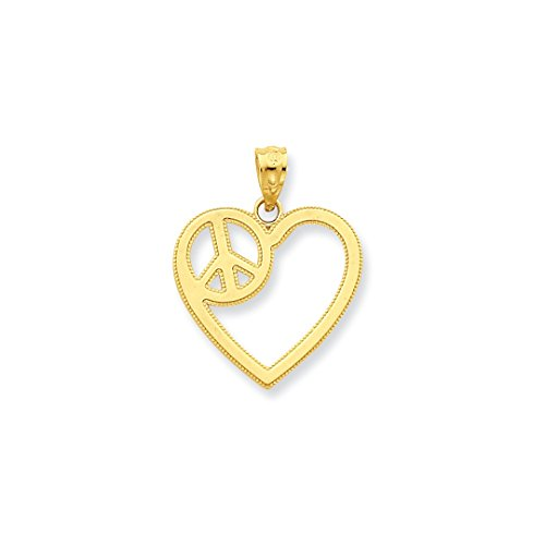 ICE CARATS 14kt Yellow Gold Heart Peace Sign Pendant Charm Necklace Love Fine Jewelry Ideal Gifts For Women Gift Set From Heart
