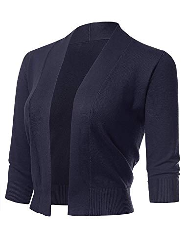 Cardigan Silk Ribbed (Pom & Co. Women's Lightweight Thin 3/4 Short Sleeve Open Front Cropped Cardigan Sweater (X-Large, Navy))