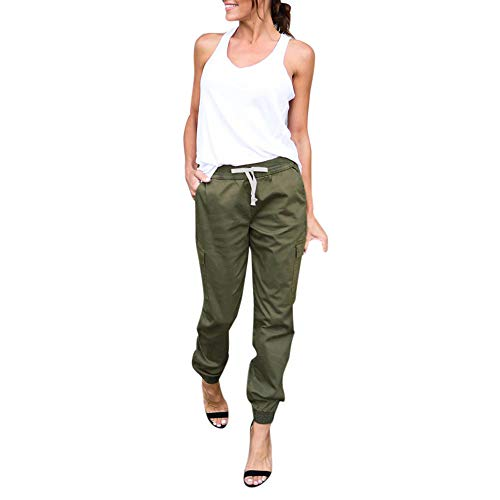 JOFOW Cargo Pants for Women Casual Solid Loose Military Long Cool Straight Leg High Waist Ankle Side Pockets Chic Trousers (L,Army Green) ()