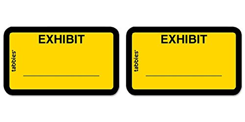 "Tabbies Color-coded Legal Exhibit Labels, 1 5/8"" x 1"", Yellow, 2 Packs"
