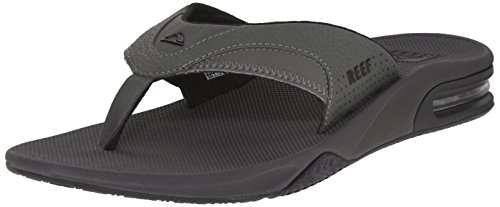 Reef Men's Sandals Fanning | Bottle Opener Flip Flops For Men, Grey/Black, 11 (The Best Soap For Men)