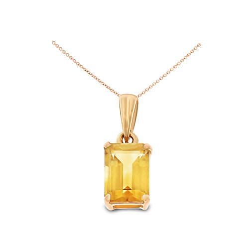 14K Rose Gold 5 x 7 mm. Emerald Cut Genuine Natural Citrine Pendant With Square Rolo Chain - Cut Emerald Citrine Pendant