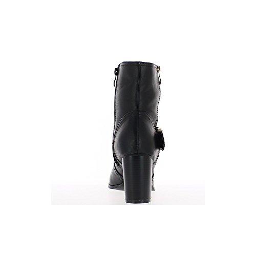 Bottines noires doublées à talons épais de 8cm avec large bride