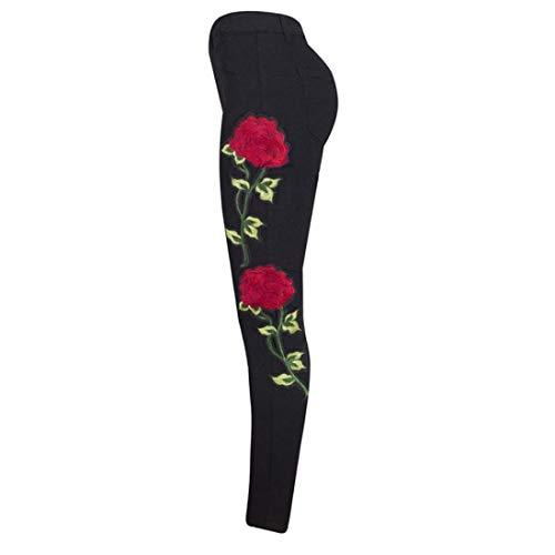 Maigre Femmes B Vingt Floral Trous Fissures Des Blau Broderie Pour Jeans Stretch Taille Avec Haute Déchiré Années P5axXqc