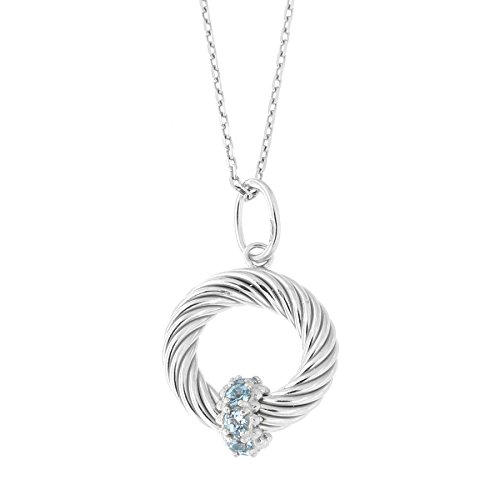 Solid Sterling Silver Rhodium Plated Blue Topaz Open Circle Italian Cable Pendant Necklace, 16