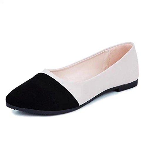 Kaiki Weibliche Frosted Wildleder Top Spleiß Kontrast Farbe Flache Schuhe Arbeitsschuhe Black