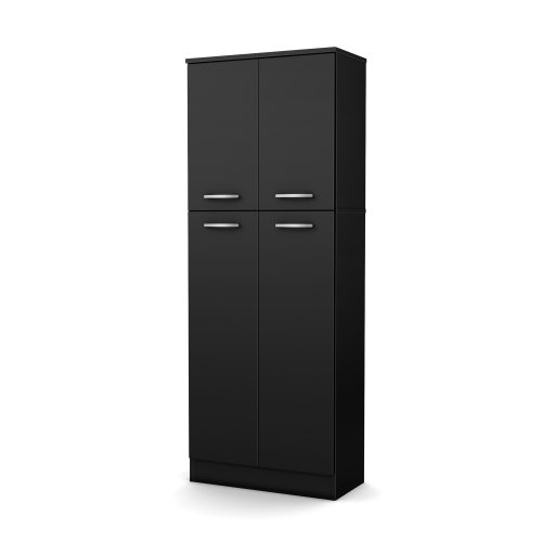 (South Shore 4-Door Storage Pantry with Adjustable Shelves, Pure Black )
