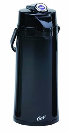 Wilbur Curtis Thermal Dispenser Air Pot, 2.2L Black Body Glass Liner Lever Pump - Commercial Airpot Pourpot Beverage Dispenser - TLXA2203G000 (Each)