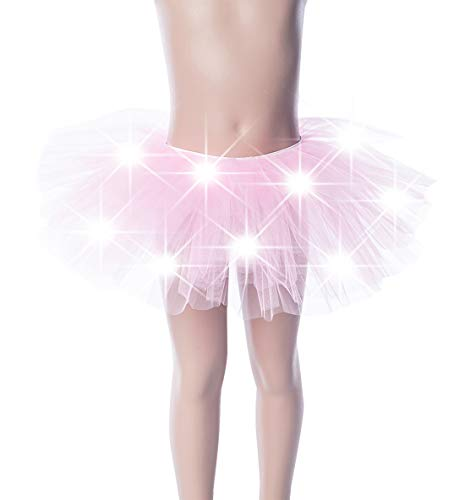 (Kid's Tutu Skirt LED Light UP Running Skirts Fits Most Lightweight 5 Layered Petticoat Waist 25-45 inches One Size Ballet Bubble Skirts Pink)