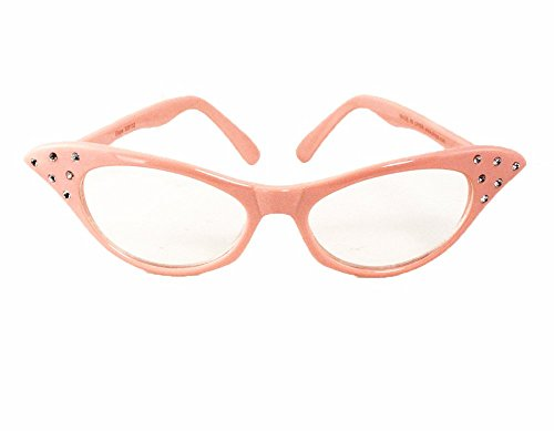Hey Viv ! 50's Fun Fashions: Pink Cat Eye Glasses w Rhinestones (Fifties Cat Eye Rhinestone Glasses)
