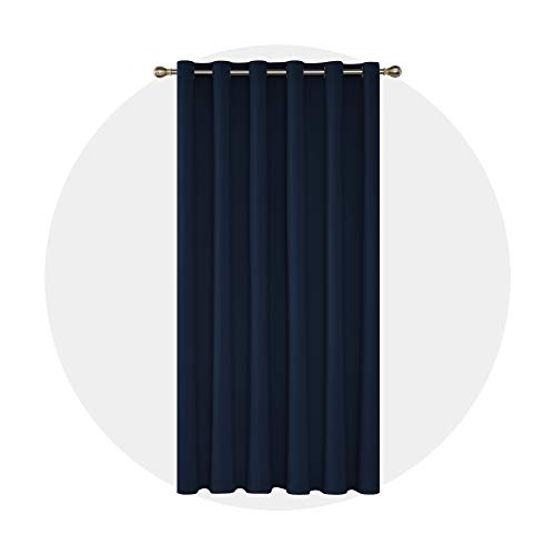 Deconovo Solid Color Thermal Insulated Wide Width Curtains Blackout Curtains Grommet Room Darkening Curtains for Living Room 80 x 84 Inch Navy Blue 1 Panel