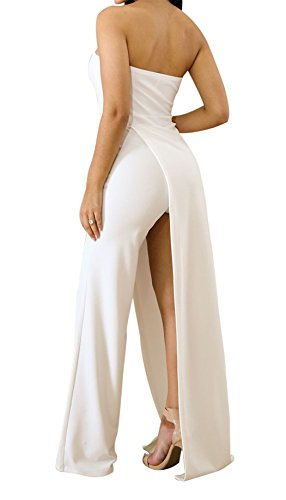Acelitt Womens Off Shoulder Sleeveless Asymmetric Split Leg Strapless Jumpsuit Rompers
