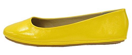 Soda Women's Afar Ballerina Flats Shoes,7 B(M) US,Yellow Patent