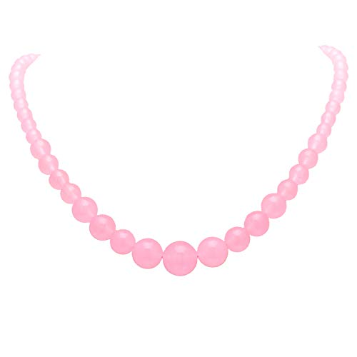 Paialco Women's Graduated Necklace Pale Pink Chalcedony Beads Round Polished Strand 6-14MM, 16 Inches