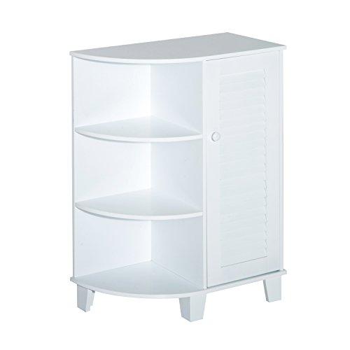 HomCom 32 Floor Cabinet with Shutter Door and Side Shelves - White