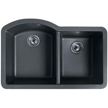 Swanstone QUDB 3322.075 32 Inch By 21 Inch Undermount Double Bowl Kitchen  Sink