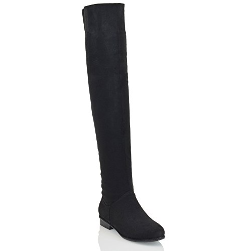 ESSEX GLAM Womens Flat Over The Knee Boots Faux Suede Thigh High Biker Style Shoes