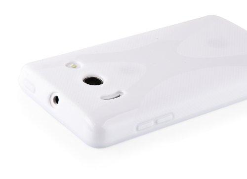 Cadorabo - Huawei ASCEND Y300 Cubierta protectora de silicona TPU en diseño X-Line - Case Cover Funda Carcasa Protección en ÓXIDO-NEGRO BLANCO-MAGNESIO