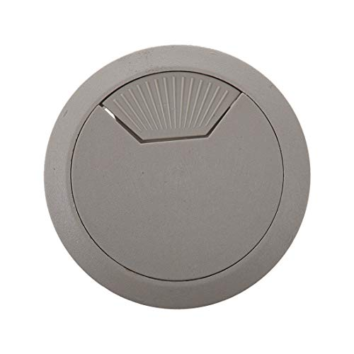 Computer Cables 2 Pcs Light Gray Round Plastic Desk Grommets Wire Hole Cap Cover - (Cable Length: Other)