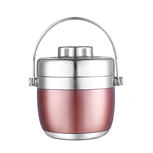 BEYONDA 111 Stainless Steel Vacuum Insulated Food Jar Thermos, Soup Container with folding spoon (40oz, Classic) (rose gold)