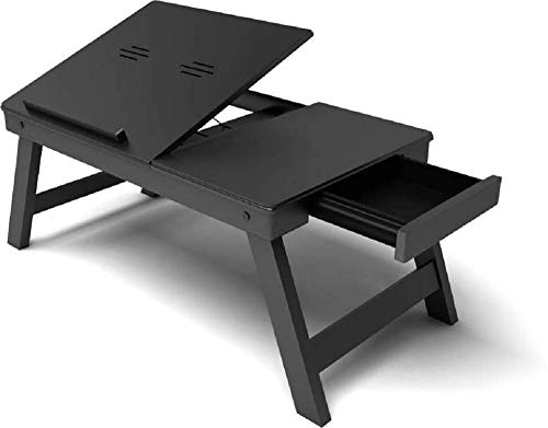 Fabulo Wooden Adjustable Study Bed Laptop Multipurpose Table with Foldable Legs and Drawer (Black)