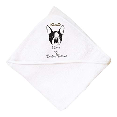 (Personalized Custom Boston Terrier's Head Boys-Girls Cotton Baby Hooded Towel - White, One Size)