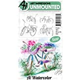Bicycle Set Watercolor Cling Cushion Rubber Stamps - Art Impressions