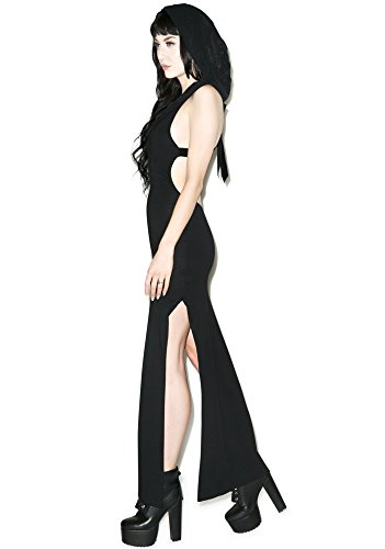 Widow by Lip Service Neoburner Burning Man Mesh Hood Maxi Dress (M)