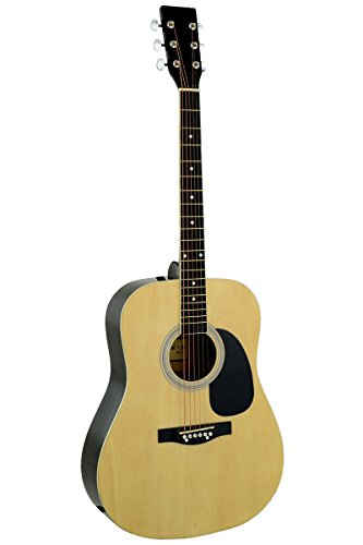 41″ Inch Full Size Natural Handcrafted Steel String Dreadnought Acoustic Guitar & DirectlyCheap(TM) Translucent Blue Medium Guitar Pick (PRO-1 Series)