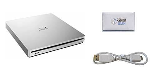Pioneer BDR-XS06 Slim Portable Blu-Ray Writer USB 3.0 BD/DVD/CD 6x External Slot Burner (Silver) for MAC + Bonus Microfiber Disc Cleaner Cloth by Plethora7