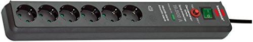 Brennenstuhl Secure-Tec regleta enchufes con 6 tomas de corriente, protección contra sobretensión y señal de alerta acústica (cable de 3 m, interruptor) antracita