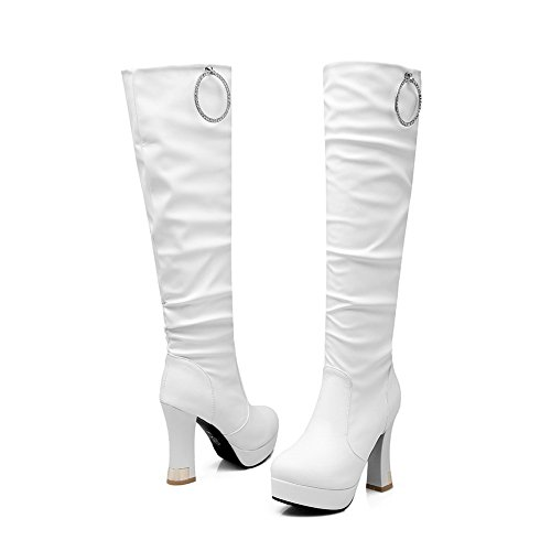 White Platform 1TO9 Closure Urethane Womens Heels Toe Resistant Urethane Puncture No Platform Boots Boots High MNS02105 Square wFTaqSF0x