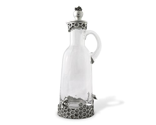 - Vagabond House Pewter Bee Glass Syrup/Honey Pitcher 8