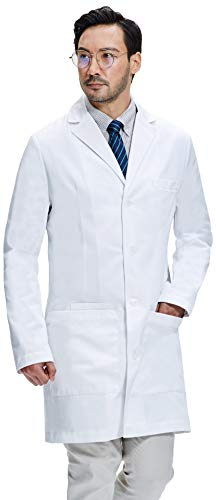 Dr. James Men's Lab Coat, Semi-Tailored Fit, Smartphone and Tablet Pockets, White, 38 Inch Length DR11-L -