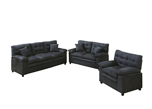Poundex Bobkona Colona Mircosuede 3 Piece Sofa and Loveseat with Chair Set, Ash (Sectionals Microsuede)