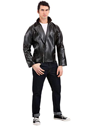 Men's Grease T-Birds Jacket Costume Grease Faux Leather Jacket Costume Medium Black
