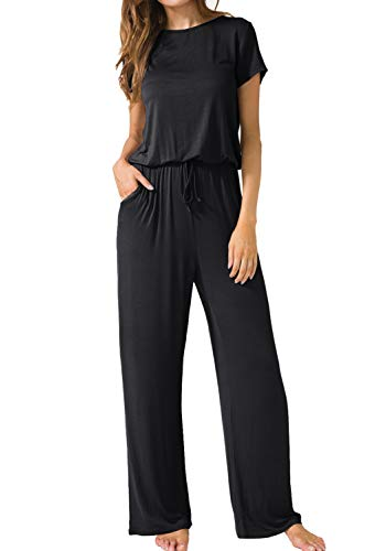 LAINAB Womens Casual Short Sleeve O Neck Wide Legs Playsuits Jumpsuits Black S from LAINAB