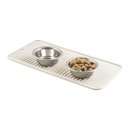 - mDesign Premium Quality Pet Food and Water Bowl Feeding Mat for Dogs and Puppies - Waterproof Non-Slip Durable Silicone Placemat - Food Safe, Non-Toxic - Small - Cream/Beige